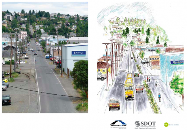 Concept looking towards Fremont and the Fred Meyer along NW 45th St.