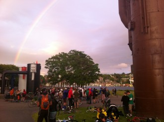 A rainbow blessed the start of the 2012 Nine to Five