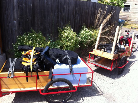 Two Haulin' Colin trailers packed for a move-by-bike