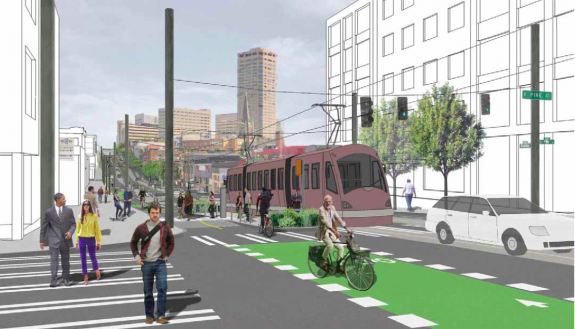 Concept image of completed Broadway at Pine St
