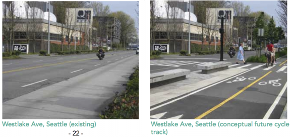 Westlake Cycle Track concept image by Cascade