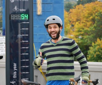 Yours truly posing on opening day for the Fremont bike counter. Photo by Anne-Marije Rook