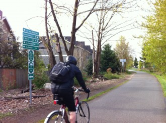 The sign on the Burke at 39th tells the story: you can go anywhere by bike!