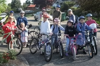Biking to Bryant began with a couple of small Bike to School Day rides
