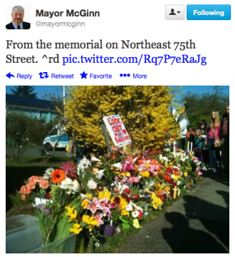 Mayor Mike McGinn attended a memorial April 1, 2013.