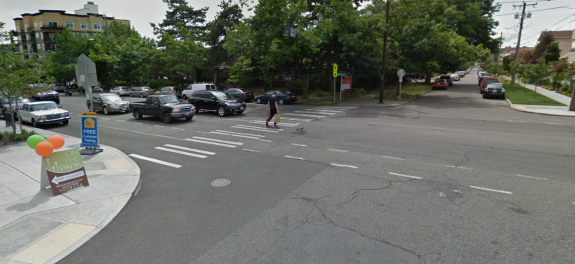 Crosswalk at NW 58th St and 24th Ave NW (via Google Street View)
