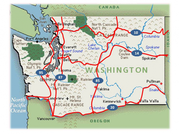 Someday, US Bicycle Routes could criss-cross Washington. WSDOT image