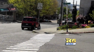 The crosswalk before removal. Image via King 5