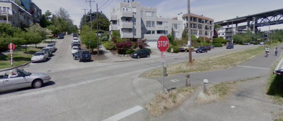 The Burke-Gilman Trail at Latona before the changes. Via Google Street View