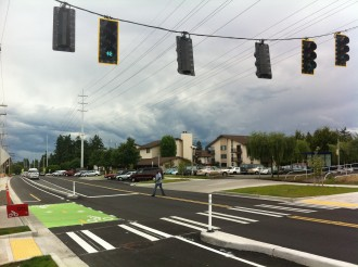 A crosswalk on the reworked Linden Ave