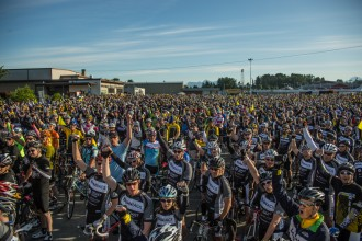 Photo from the start of the 2013 Ride to Conquer Cancer in Surrey.