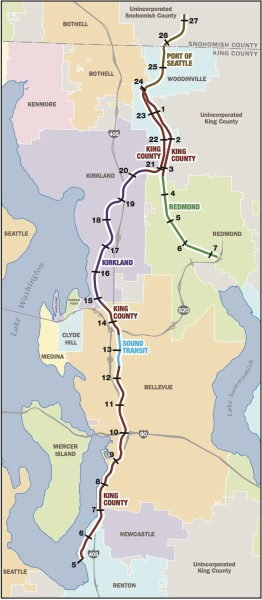 Map showing ownership of Eastside Corridor sections. Bellevue wants to start purchasing corridor sections to connect to Kirkland's planned trail