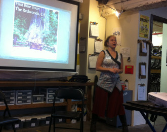 Ellee gives a talk about bike touring at Bike Works in early 2013