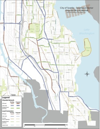The most recent draft Bicycle Master Plan map.