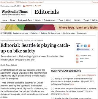 Screenshot from the Seattle Times website