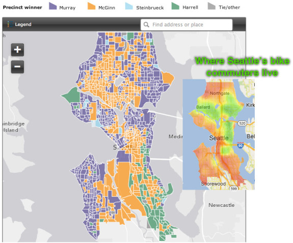 Primary vote map by the Seattle Times, used with permission (interactive version here). Bike Commute map via BikeScore