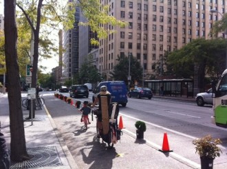 Cascade set up a protected bike lane on 2nd Ave last year.
