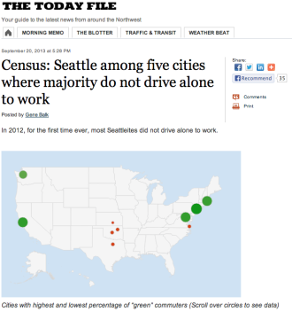 Screenshot from Seattle Times. Click for story and interactive map of low and high drive-alone cities