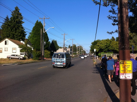 Image from a 2013 community walk to discuss the dangers of NE 65th Street. Photo taken during rush hour.
