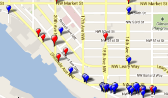 Map from BikeWise shows huge clusters of reported crashes on the Missing Link.