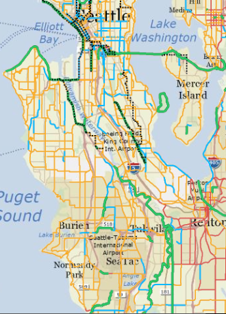 Screenshot of King County bike map