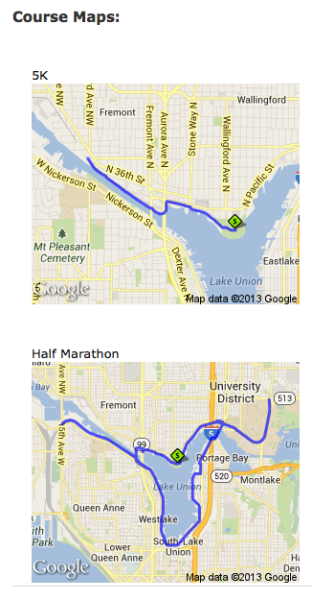 Route maps from the Biggest Loser website