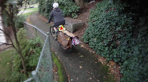 MJ's cargo bike shows how much room would need to added to the trail to make it an acceptable two-way pathway. However, it is probably doable.