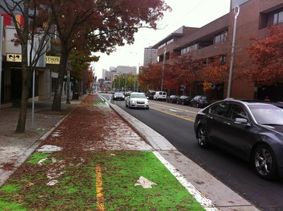 The Broadway Bikeway opened the same week leaves fell