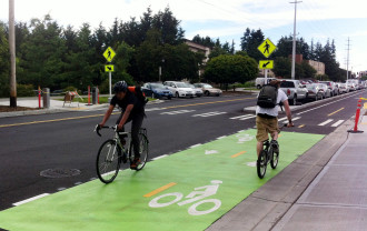 Linden Avenue was the site of Seattle first modern protected bike lanes