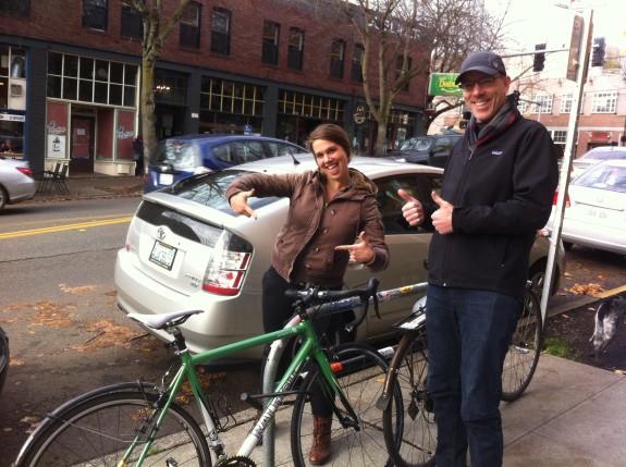 Beth Gunn (left) with Matt Leber, the bus driver who helped her get her wheels back