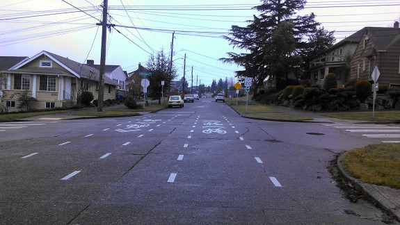 A crossbike, like this one at the intersection of S 18th Street and S McClellan is a crosswalk-type marking with sharrows indicating bike travel