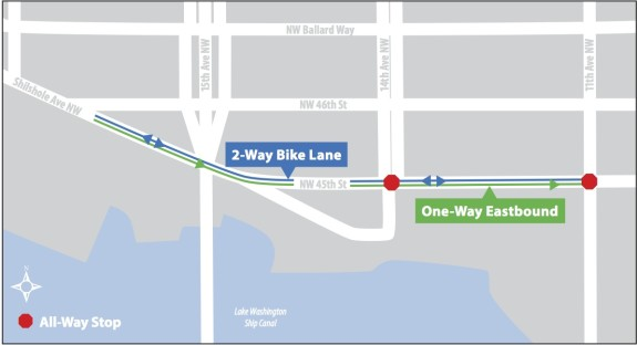 NW 45th St 121713 OneWay-Bike Map