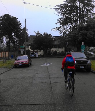 Sharrows lead the way through the neighborhood, and we followed signs at intersection to the Link Light Rail station and on to the park without