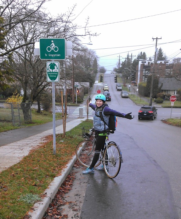 Beyond this point, bicyclists are directed southwest of Jefferson Part to S 13th and 14th Streets. The greenway route officially ends at S Lucile Street