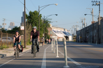 Photo of a bike lane in Chicago from People For Bikes