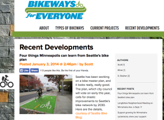 Screenshot from the Bikeways for Everyone website