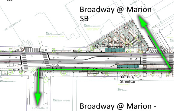 Green lines show the improved CD-to-First Hill bike route.