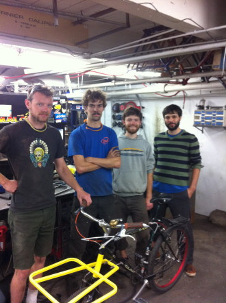 My cycle truck is ready! From left: Colin and Garth of Cyclefab then, Danny Fisher-Bruns and yours truly, the bike's new owners.