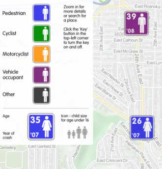 Image from the ITO road fatality map (2001-2009)