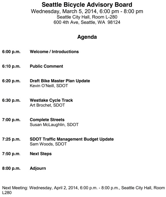 On tap for march bike board meeting westlake bike plan for First board meeting agenda template