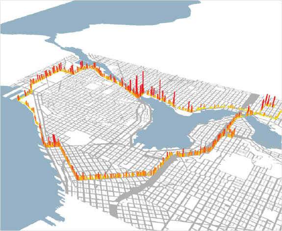 Figure 2: 3-Dimentional black carbon pollution map of Seattle. From Hong, E-Sok and C.-H. Bae. Exposure of Bicyclists to Air Pollution in Seattle, Washington: Hybrid Analysis Using Personal Monitoring and Land Use Regression. In Transportation Research Record: Journal of the Transportation Research Board, No. 2270, Figure 3, p. 63. Reproduced with permission of the Transportation Research Board on behalf of the National Academy of Sciences.
