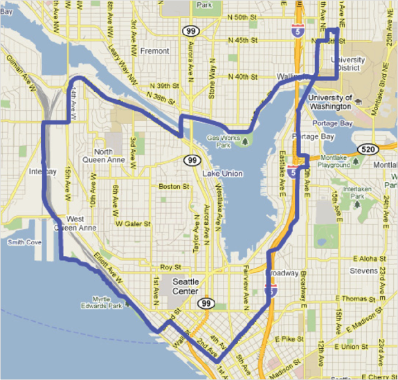 Figure 1: Selected route for Seattle data collection. From Hong, E-Sok and C.-H. Bae. Exposure of Bicyclists to Air Pollution in Seattle, Washington: Hybrid Analysis Using Personal Monitoring and Land Use Regression. In Transportation Research Record: Journal of the Transportation Research Board, No. 2270, Figure 1, p. 60. Reproduced with permission of the Transportation Research Board on behalf of the National Academy of Sciences.