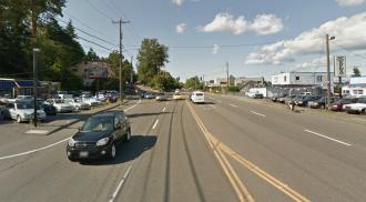 Looking north of Lake City Way at NE 104th Way. Image from Google Street View