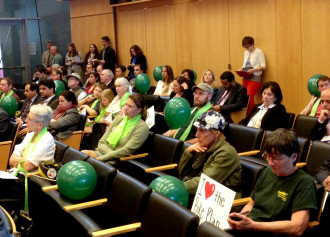 Supporters of the plan donned green at the City Council meeting