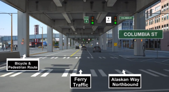 A WSDOT visualization of the temporary Alaskan Way reroute, looking north at Columbia