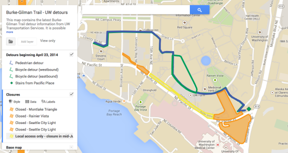 Via an interactive map of the trail detour.