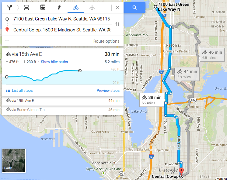 Google Maps now gives elevation information for bike routes ...