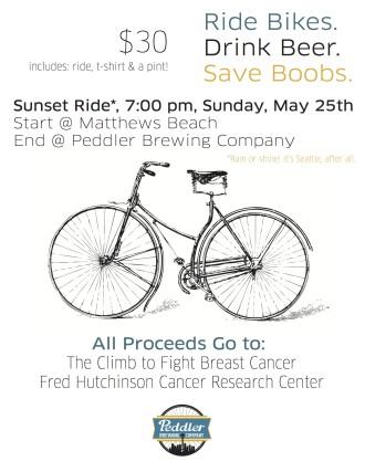 Ride Bikes. Drink Beer. Save Boobs @ Peddler Brewing Co.
