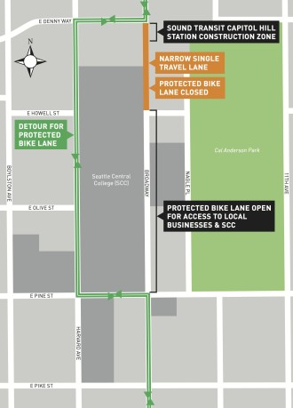 Detour details for people biking to/from north of Denny.