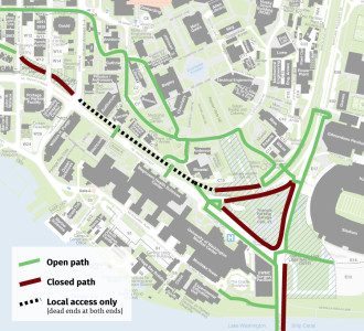 Recently-received UW trail detour map